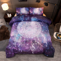3D Galaxy Unicorn Printing Bedding Set Dreamcatcher Universe Outer Space Themed Bed Linen Duvet Cover Set (No Sheet No Filling)