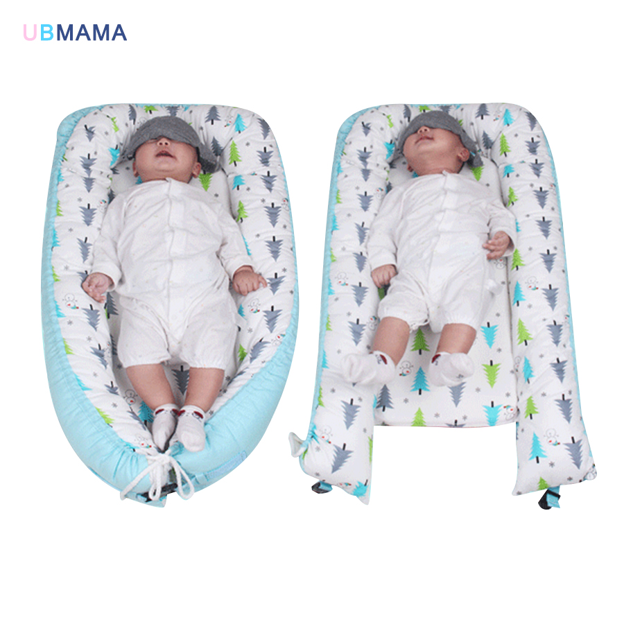 Travel Foldable Portable Stripde Solid Baby Sleeper Cotton Baby Bed Newborn Crib Baby Soft Bed With Mosquito Nets 87*45*15cm