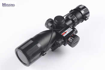 Tactical 2.5-10x40 Green Red illuminated Hunting Rifle Scope Mil-dot reticle & Red Lase Sight w/ 20mm Quick Release Rail Mount