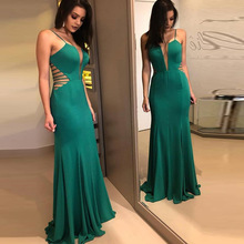 2018 New Arrival None Sexy & Club A-line Solid Sleeveless Hole Floor-length Spaghetti Strap Empire V-neck Summer Dresses