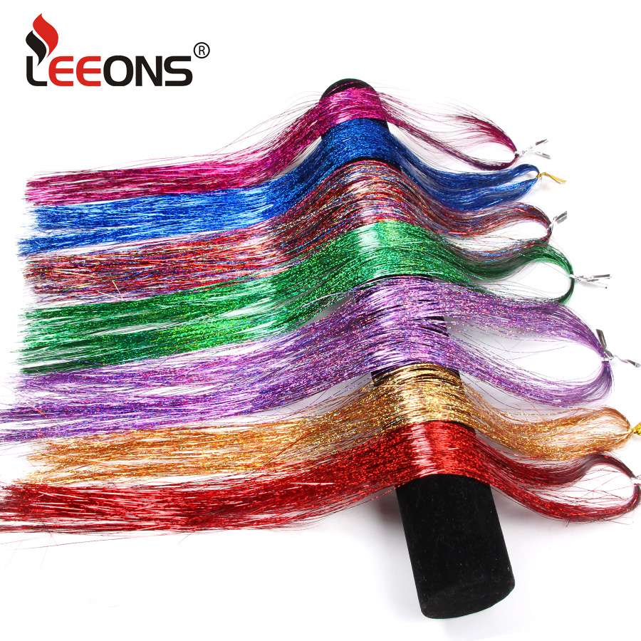 Hair Extensions & Wigs Synthetic Extensions Leeons Hair Green Purple 16inch Sparkel Synthetic Clip In One Piece Hair Bling Rainbow Silk Hair Tinsel Synthetic Hair Extension