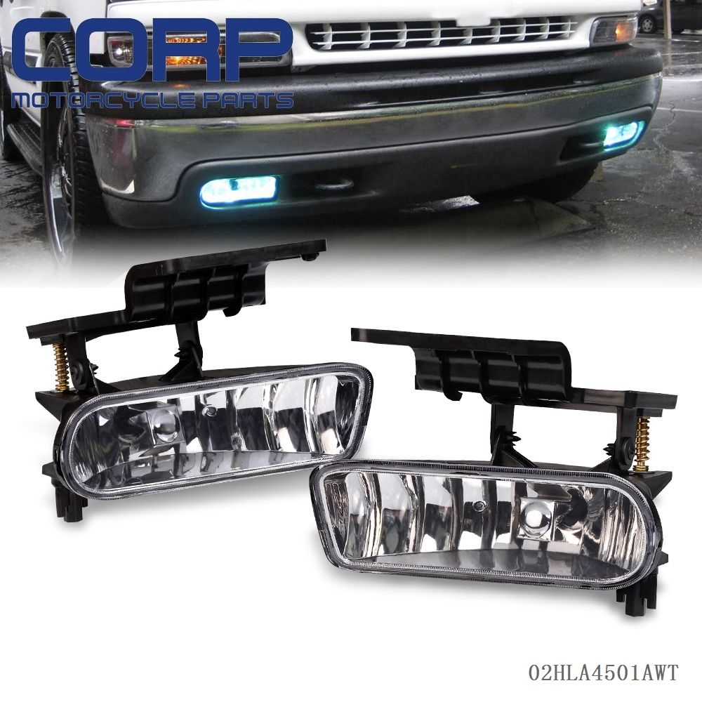 Gplus Fog light for Chevrolet CHEVY 99-02 Silverado/00-06 Suburban/Tahoe Clear Lens Bumper Fog Lights Driving Lamps suburban 94 99 blazer 94 tahoe 95 99 signal marker reflector light upper pair