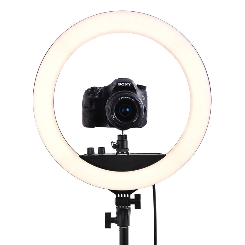 FOSOTO RL-18II iluminación fotográfica 3200 K-5600 K 512 Led anillo lámpara regulable Cámara foto estudio teléfono maquillaje anillo luz trípode - 6