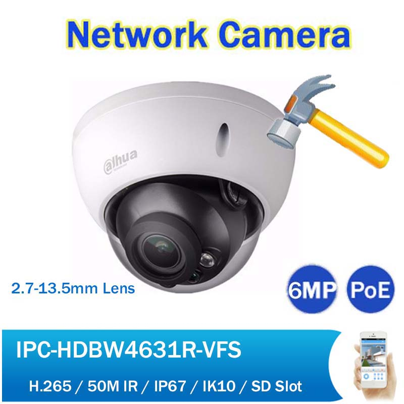 DH IPC-HDBW4631R-VFAS 6MP CCTV Camera IP POE 2.7-13.5mm Varifocal Zoom 50M IR Security Network Camera with SD Slot Audio dh ipc hfw4433m as i1 4mp ir bullet network camera outdoor 50m ir security cctv poe ip camera with audio alarm sd slot