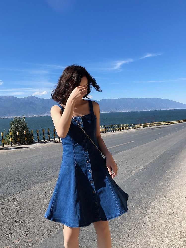 2019 הגעה חדשה נשים אופנה קיץ ספגטי רצועת שרוולים ראפלס כחול קצר מיני ערב מסיבת שמלת ג 'ינס