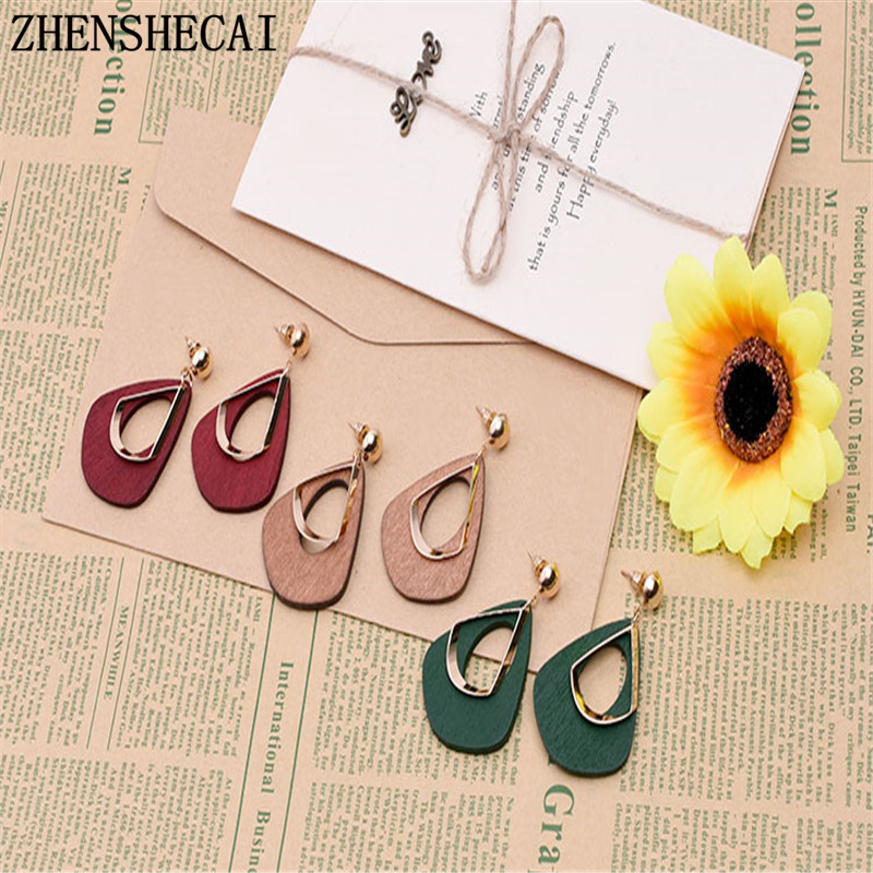 Red/Green/Brown color geometric earring for women fashion jewelry bijoux large pendant drop earring hot new 2017 e0368
