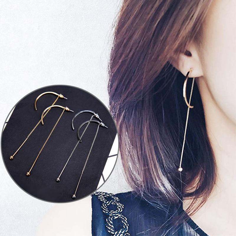 KARASU Charm C Shape Design Women Girls Fashion Long Chain Drop Earrings Beautiful Birthday Gift For Girls Jewelry