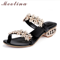Meotina Women Sandals Summer 2017 Crystal Chunky Heel Sandals Party Shoes Size 34 43 Rhinestone Flower