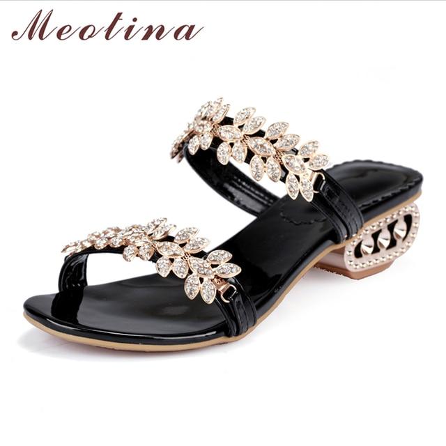 Meotina Giày Sandal Nữ Mùa Hè 2018 Pha Lê Chun Gót Đảng Size 34-43 Ren Hoa Sandals Nữ vàng