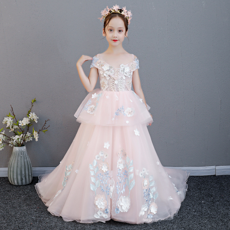 Luxury Holy Communion Dress Off the Shoulder Pearl Flower Girl Dresses Wedding Lace Up Long Trailing Princess Dress for Birthday