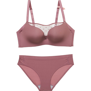 Image 3 - Women Bra Sets Lingerie Girls seamless Bras Underwear Push Up young  ladies summer half translucent Brassiere + Panties
