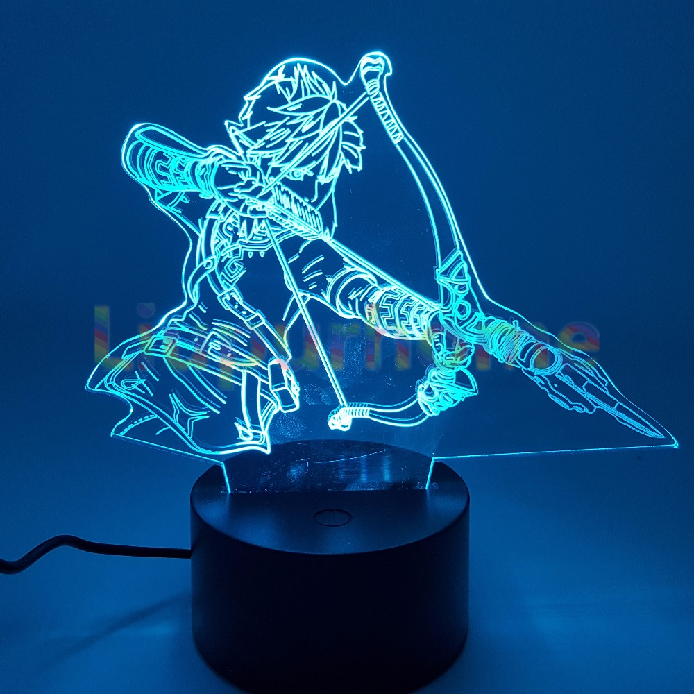 The Legend of Zelda Breath of the Wild 3D Led Night lights Visual Illusion LED Link Zelda Desk Lamp For Home Decor the legend of zelda breath of the wild link statue pvc painted figure collectible model toy 10inch