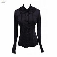 Black Lolita Blouse Womens Cotton Long Sleeves Lace Ruffles Buttons Cotton Court Lolita Tops Cosplay XS XXL Ainclu Spring/Autumn
