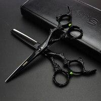 Polegadas cabeleireiro tesoura terno barbearia cabelo tesoura ferramentas de modelagem profissional fino tesoura tesouras do barbeiro definir