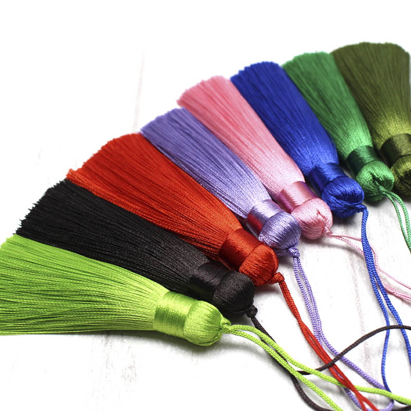 10pcs Tassel Brush Pendant Accessories For DIY Earrings Jewelry Making 8cm Silk Satin Tassel Handmade Crafts Findings Supplier