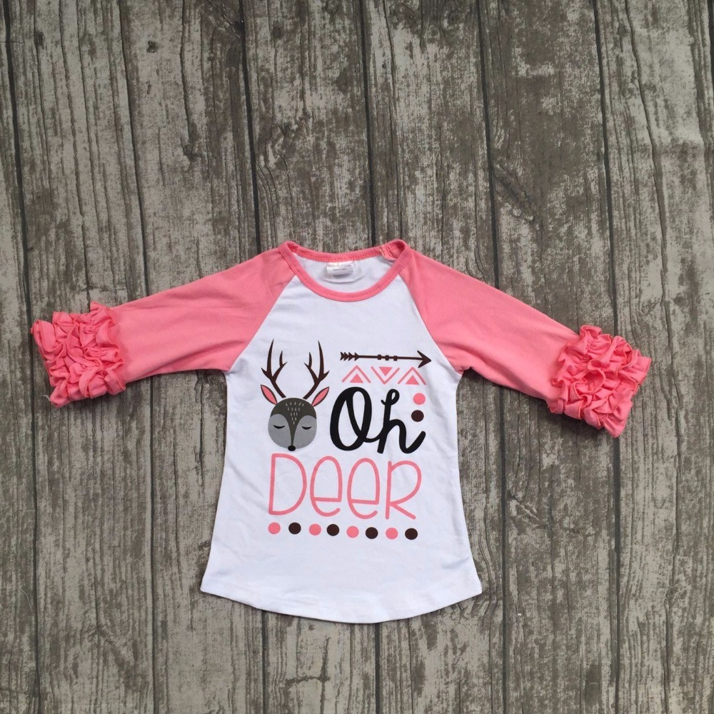 Christmas Fall winter baby girls clothes girls oh deer raglans children  reindeer raglans tee cotton tee T shirts-in Tees from Mother   Kids on ... 53f046a62c0a