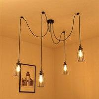 Mrosaa 1.8m Vintage 4x E27 Bulbs Pendant Lamp Holder Spider Ceiling Adjustable Pendant Light DIY Lamp Rope Home Decoration