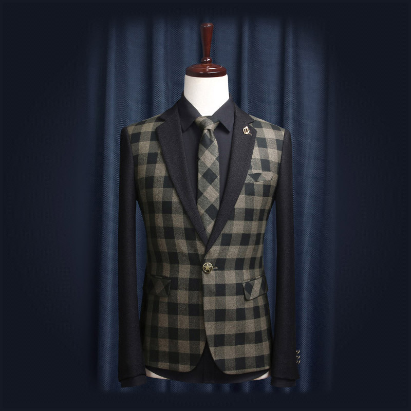 Free Shipping 2014 Autumn New Arrival American Style Simple Fashion Plaid Printed Slim Men Suit Man Business Formal Blazer