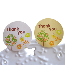 120pcs/lot Small Tree Thank You Round Self-adhesive Sealing Sticker Decorative Package For Baking Gift
