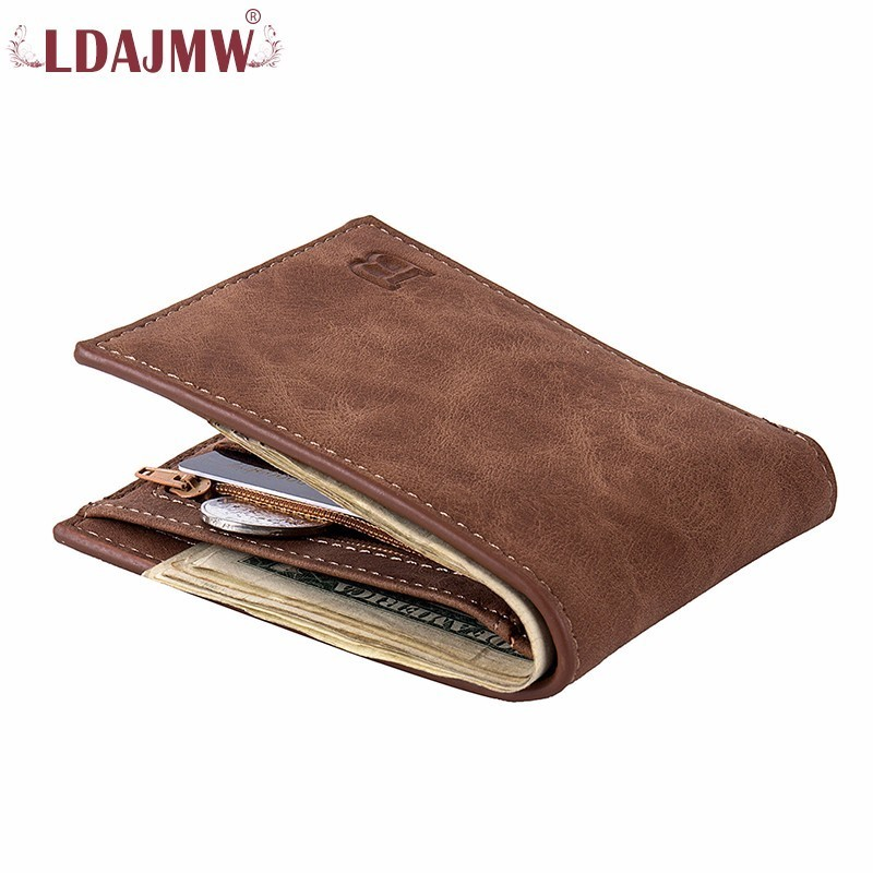 LDAJMW New Men Wallets Coin Purse Card Holder Small Wallet High Quality Leather Money Purses Male Wallets new big brothers money cigarette card case box holder
