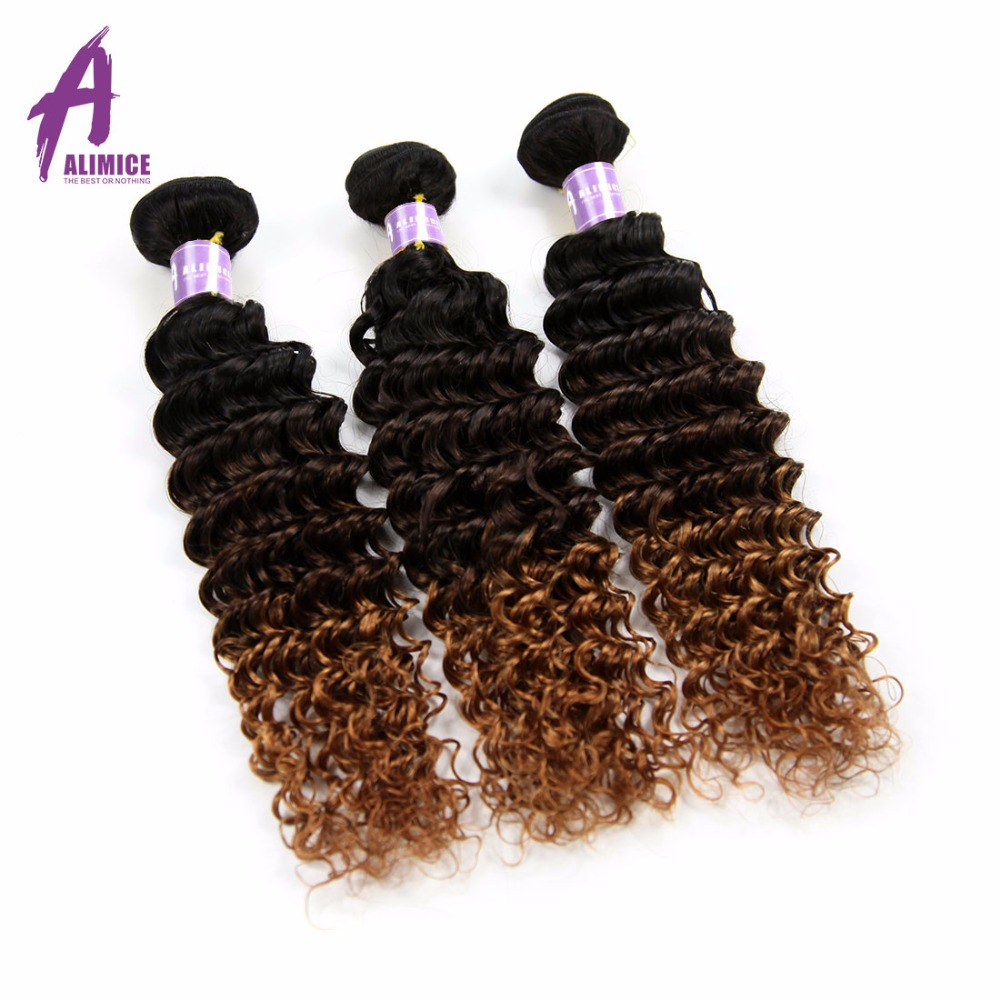ALIMICE Ombre 3 Bundles With Closure Indian Deep Wave Human Hair Weaves T1B/4/30 Ombre Three Tone Remy Hair Extensions