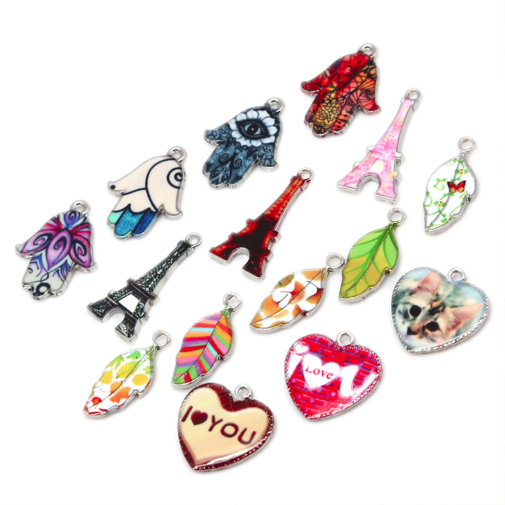 New Fashion Leaves,Eiffel Town,Heart,Hand Zinc Alloy Enamel Beads DIY Bracelet Necklace Pendant Charms For Jewelry Making Gift
