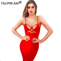 TAUPIN AM 2017 Spaghetti Strap Bandage Dress Women Lace Up Pencil Celebrity Party Dresses Sexy Short