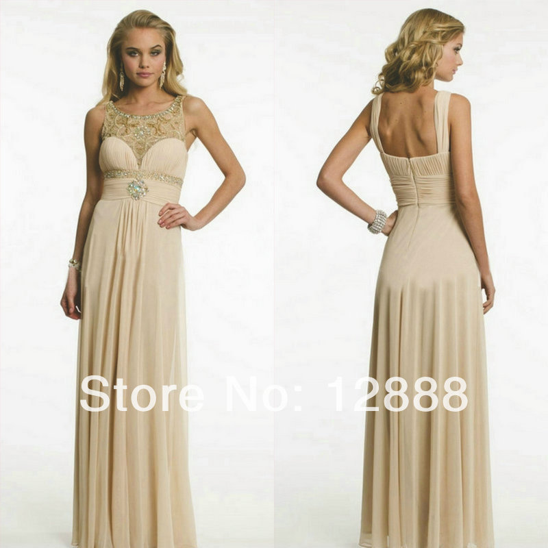 Floor Length Backless Champagne Coloured Prom Dresses With