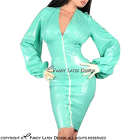 Jade Green Sexy Latex Dress With Puff Sleeves Zipper At Front Rubber Dress Bodycon Playsuit LYQ
