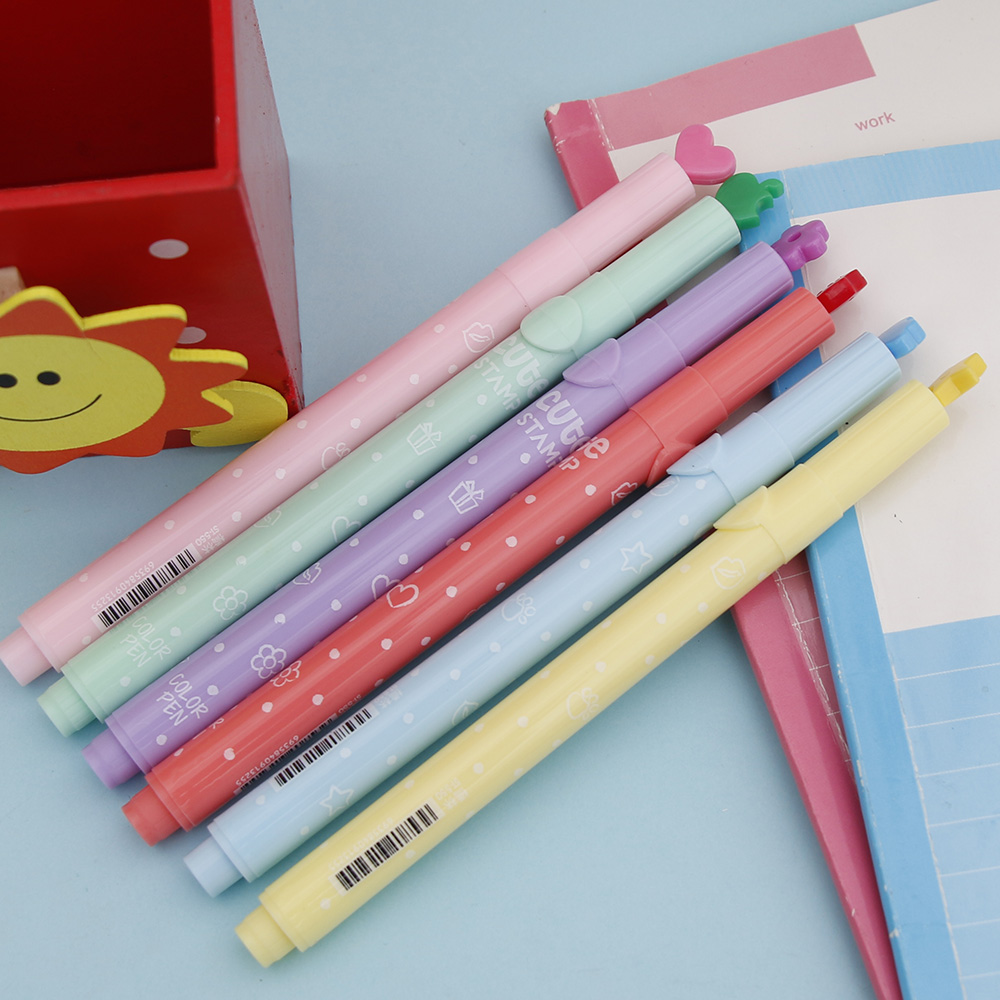 6Pcs/Lot Cute Candy Color Kawaii Highlighters Inks Stamp Pen Creative Marker Pen School Supplies Office Stationery