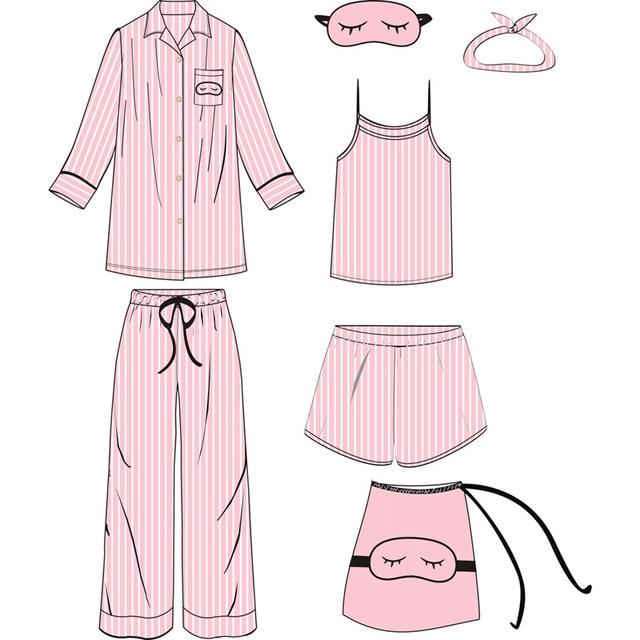 Rayon Silk Pajamas Sets Ladies Homewear Clothes 7 Pieces Pink Navy White  Striped Satin Sleepwear Pyjamas 2f8b99a5b