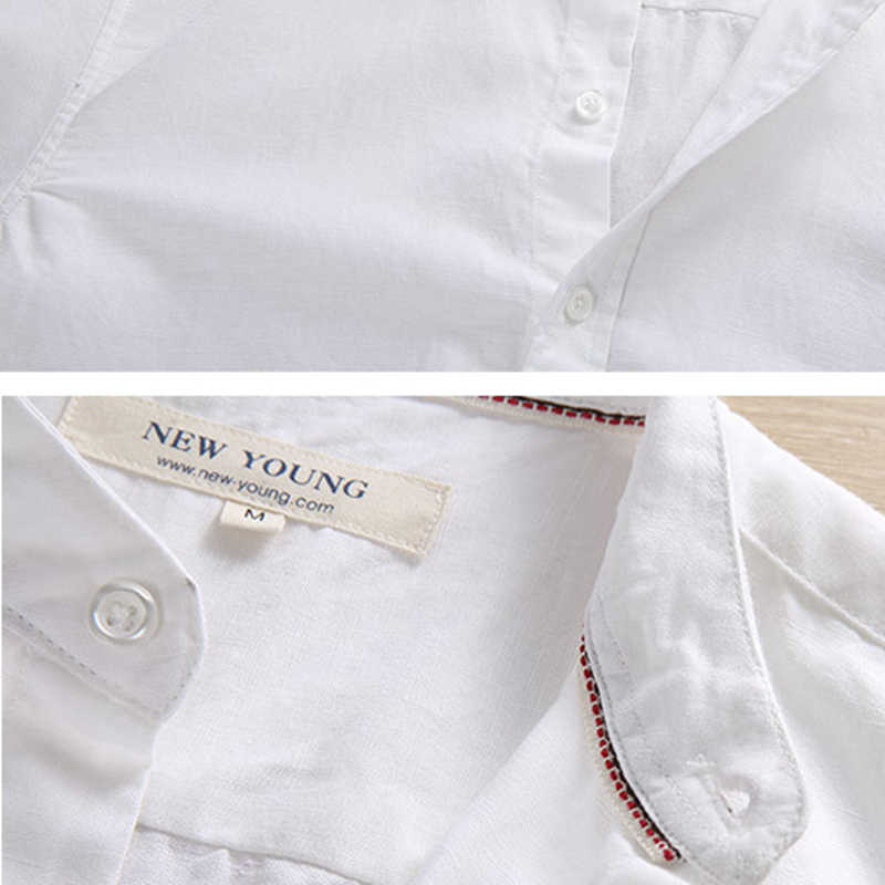 1bae136641 ... New Brand Mens Chinese Mandarin Collar Linen Shirt Long Sleeve Slim Fit  Solid Color Summer Cool
