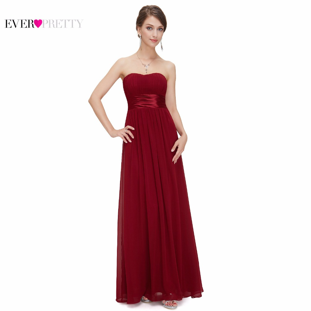 Burgundy Bridesmaids Dresses Ever Pretty EP09955 Elegant Gorgeous Sexy Strapless Peach Long 2017 New Arrival Purple Bridesmaids