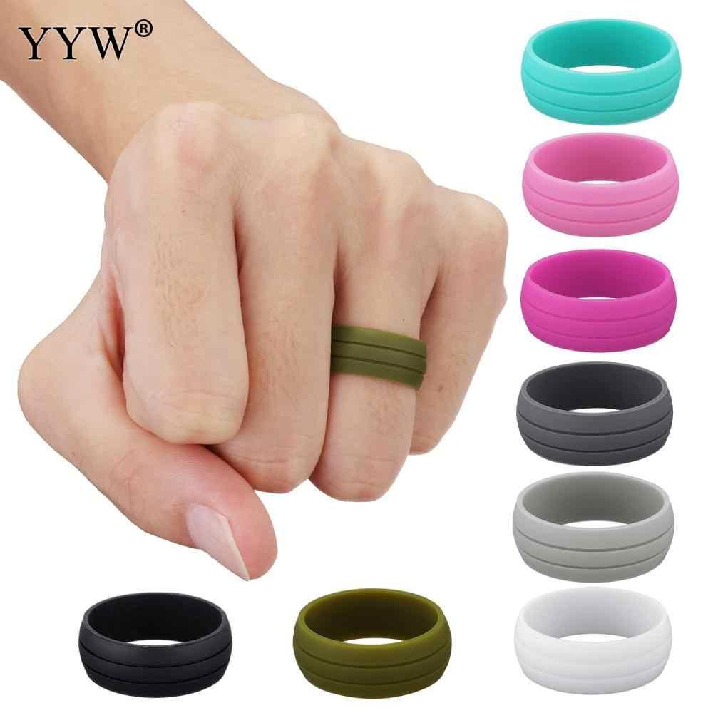 8MM Size 6-12 Hypoallergenic Crossfit Flexible Rubber Silicone Ring Finger Rings For Men Women Wedding Gift With Velveteen Bag