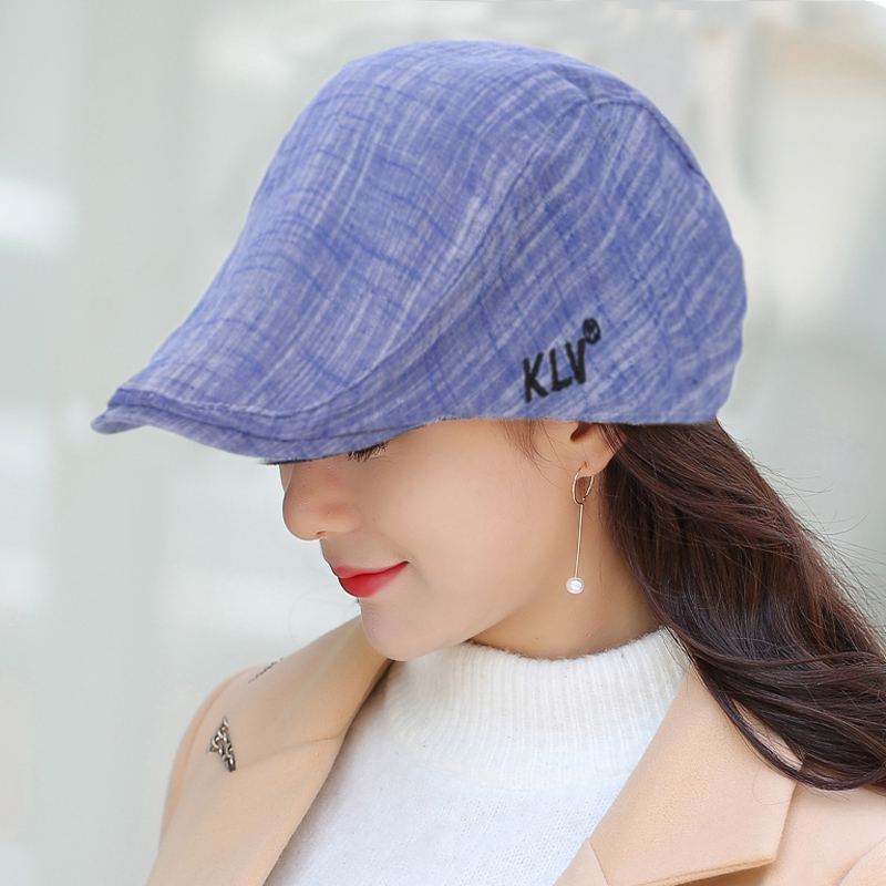 KLV British Style Cotton Hat Stylish Simple Classic Vintage Cap for Spring H9