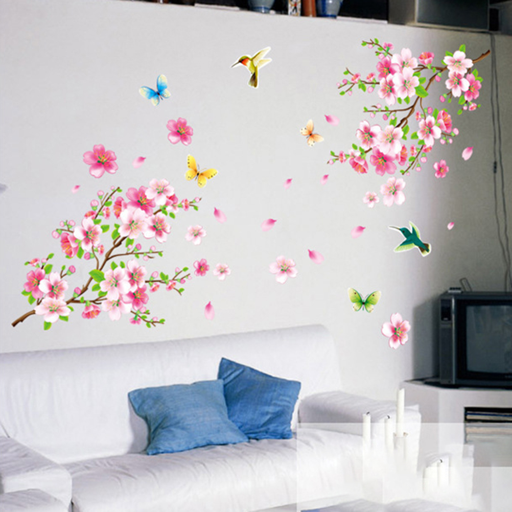 Graceful Peach Blossom Birds Wall Stickers Large Elegant Flower Wall Stickers Furnishings Romantic Living Room Decoration