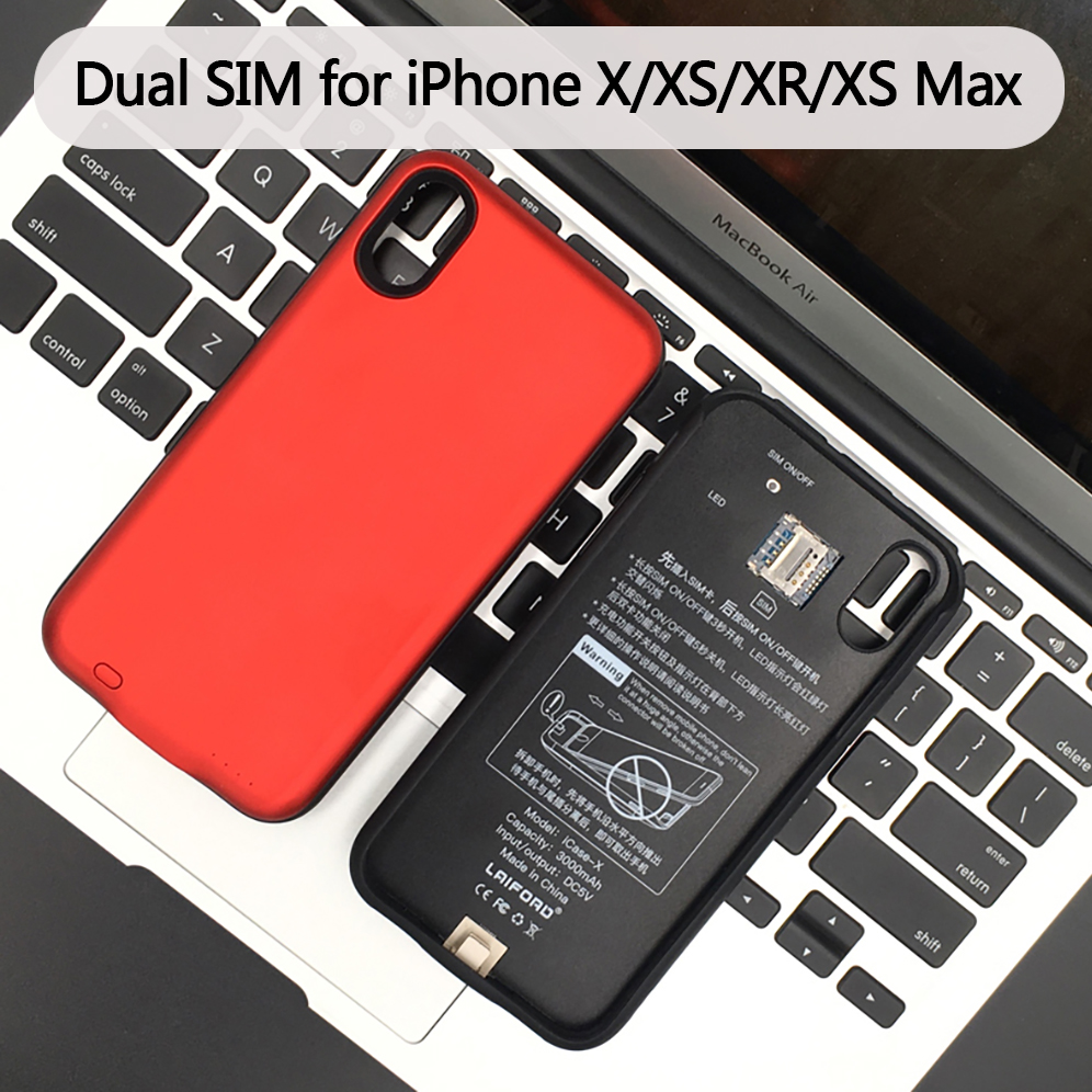 For iPhone X XS XR XS Max Dual SIM Bluetooth Case Adaper Rubber frame Long Standby