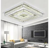 Free Shipping LED Ceiling Light Stainless Steel Crystal Lamp for Living Bedroom LED AC Lustres Lamparas de techo Remote Control