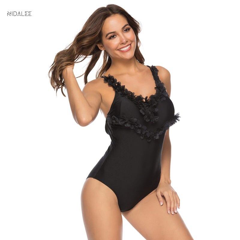 NIDALEE Lace One Piece Swimwear Women Bodysuit Bathing Suit Backlace Monokini Beach Wear Bandage Bikini