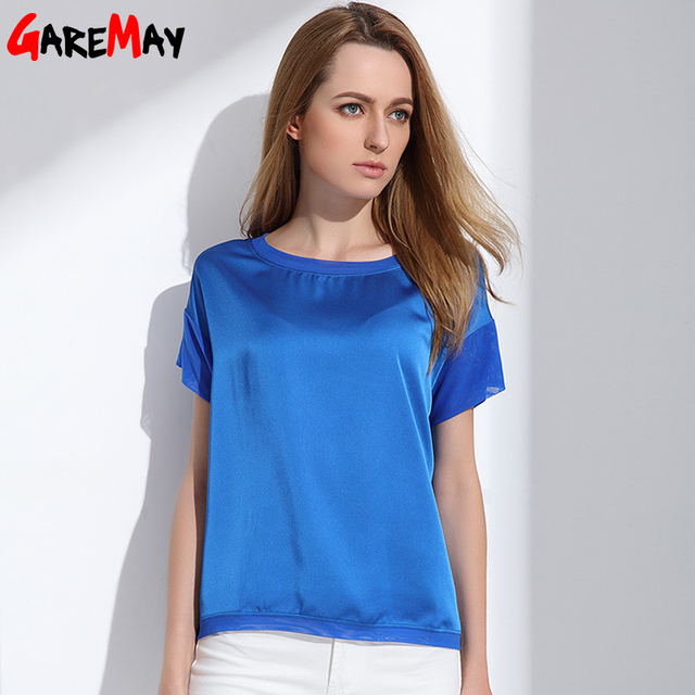 645d0c7e2 GAREMAY 2017 Women Summer Tops Loose Blusas Casual Large Size Women  Imitation Silk Blouse Female Clothing