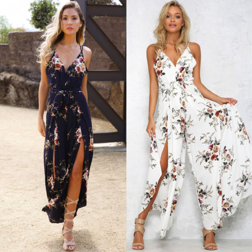 Fashion Women Summer Boho Chic Strappy V Neck Backless Floral Printed Open Side Beach Wide Leg Pants Playsuit Long Maxi Jumpsuit ...