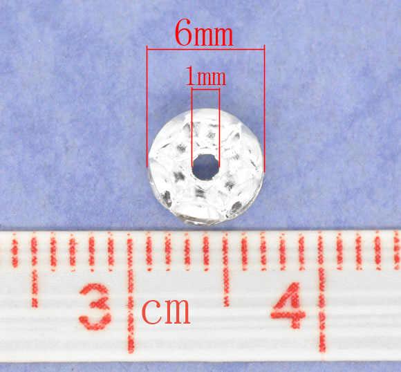 銅+ラインストーンスペーサービーズラウンド銀メッキホワイトラインストーン約6ミリメートル径、穴:約1ミリメートル、15ピース新