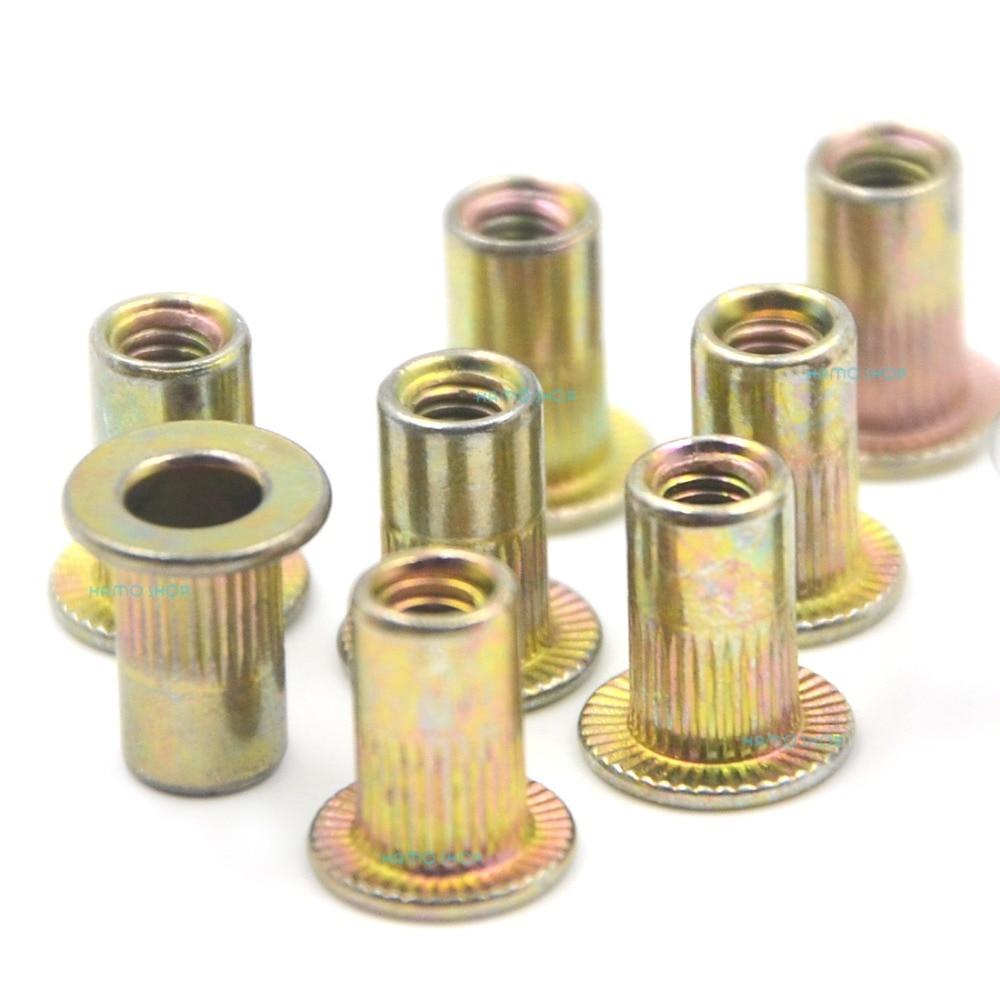 цена на 100pcs M3 Rivet Nut Flat Head Threaded Multi Blind Rivnut Insert Nutsert Steel