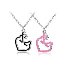 her buck his doe enamel Heart shape Deer necklace pink black color Buck Doe Necklaces Pendants gift Jewelry for lover boyfriend