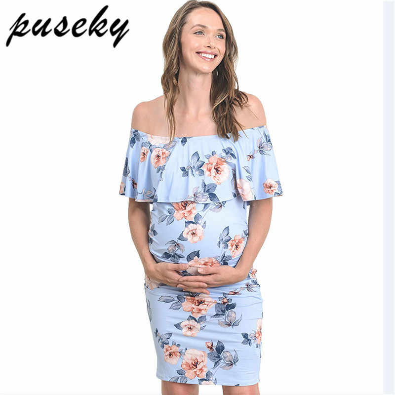 7a4a8b40b390a Puseky Maternity Dresses For Photo Shoot Off Shoulder Ruffles Stretchy Milk  Silk Pregnant Gown Jersey Pregnancy