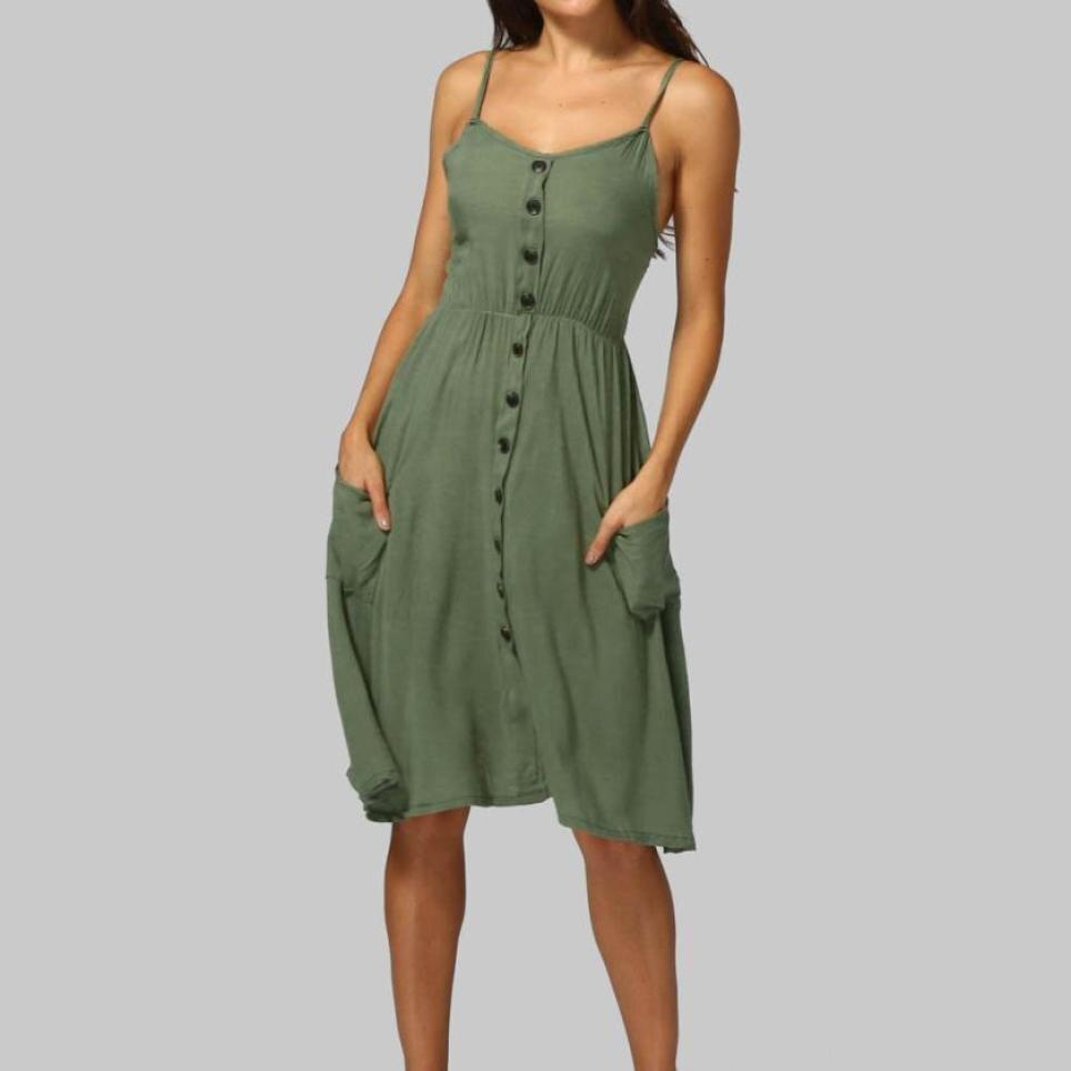 Women Tunic Summer Dress Cotton Ruffle Buttons Soft ...