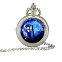 BBC Television Doctor Who tardis silver quartz Pocket Watch 1pcs/lot steampunk Necklace Police Box in Space pendant Glass Locket