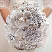 Luxo personalizado nupcial do casamento ramalhete com pérola frisado broche e rosas de seda, Romantic Wedding colorido Bride ' s Bouquet