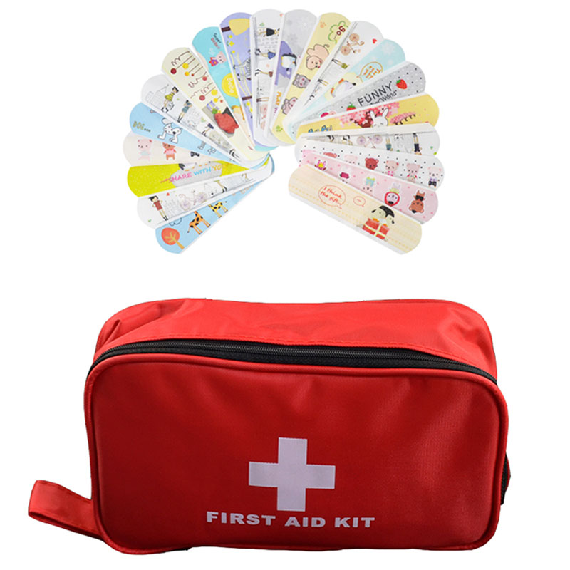 180pcs/pack Outdoor Camping Travel First Aid Kit Emergency Kit + 100PCs Cartoon Cute Kids Adhesive Bandages Band Aid empty bag for travel medical kit outdoor emergency kit home first aid kit treatment pack camping mini survival bag