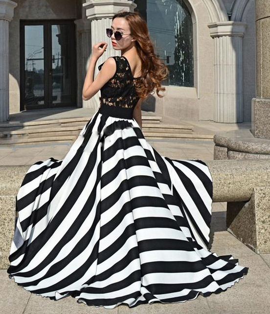 73057a163c9ca US $19.0 5% OFF|Women Summer Floor Length Maxi Dress Black White Strip  Print Dress Lace Skeleton Vest Top Long Dress Vestidos Femininos D175-in ...